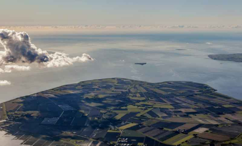Structures on agricultural fields at the North Sea coast in Nordstrand in the state Schleswig-Holstein, Germany