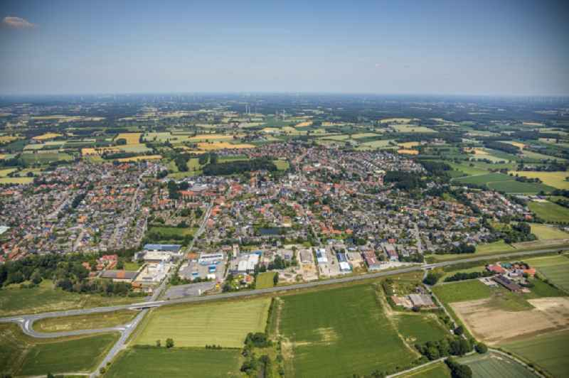 Town View of the streets and houses of the residential areas in Nordwalde in the state North Rhine-Westphalia, Germany