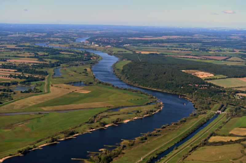 Riparian zones on the course of the river of the River Elbe in Nostorf in the state Mecklenburg - Western Pomerania, Germany