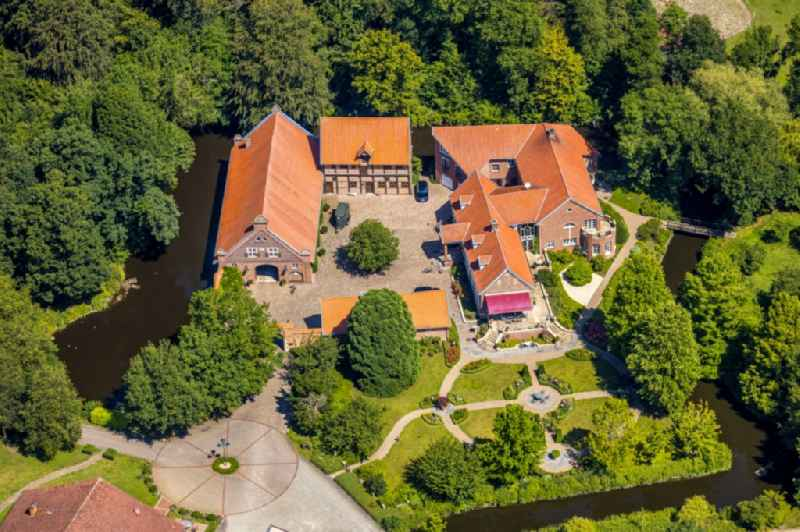 Building and castle park systems of water castle with homestead and horse breeding of 'Gestuet Haus-Giesking' in the district Hangenau in Nottuln in the state North Rhine-Westphalia, Germany