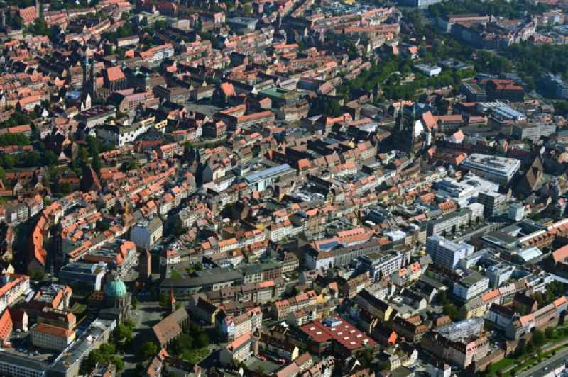 Old Town area and city center in Nuremberg in the state Bavaria, Germany