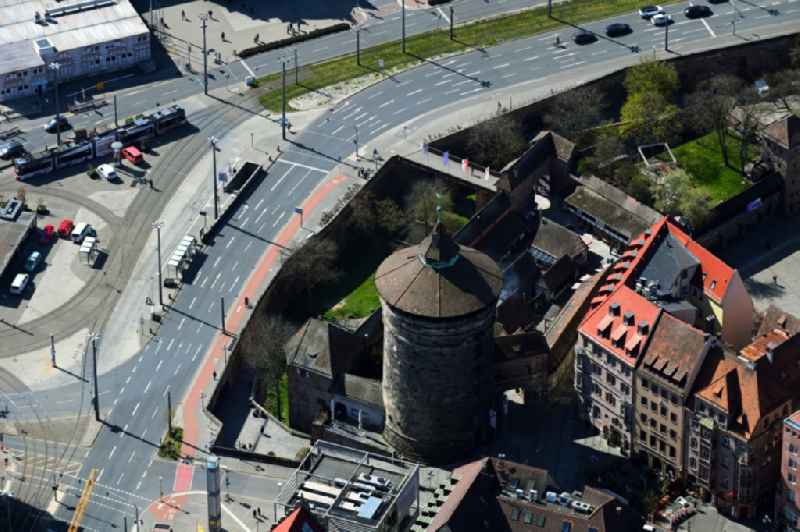 Tower building ' Frauentorturm ' on Koenigstrasse the rest of the former historic city walls in Nuremberg in the state Bavaria, Germany