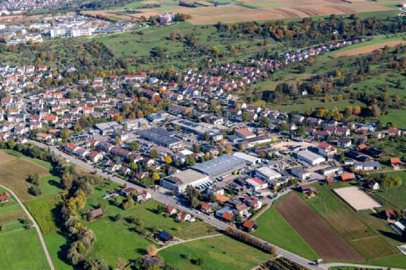 Industrial estate and company settlement with Birk KG in Nuertingen in the state Baden-Wurttemberg, Germany