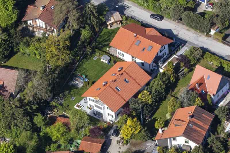 Single-family residential area of settlement Waldstrasse - Sauerlacher Strasse in the district Deisenhofen in Oberhaching in the state Bavaria, Germany