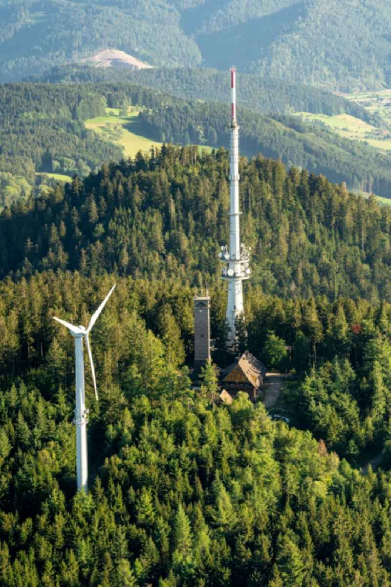 Radio tower and transmitter on the crest of the mountain range Am Brandenkopf in Oberharmersbach in the state Baden-Wuerttemberg, Germany