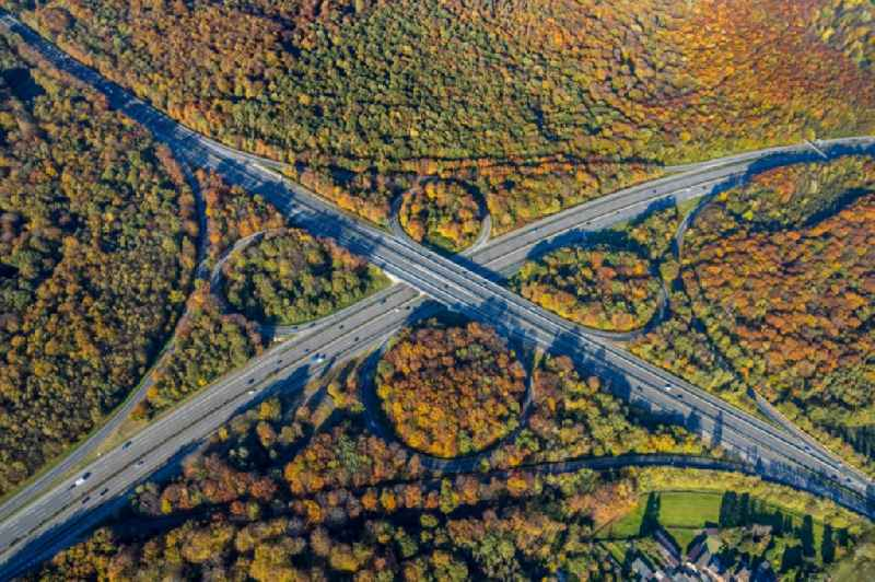 Autumnal discolored vegetation view motorway interchange departure of the AD of the autobahn A2, A3, E34 and the federal highway B516 in the district the Sterkrade north in Upper House in the federal state North Rhine-Westphalia