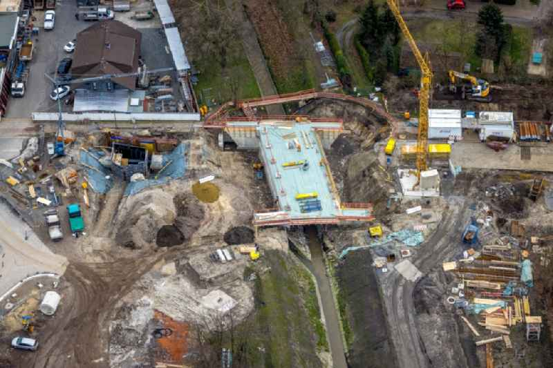 New construction of the bridge structure over the river Hauptkanal on Erlenstrasse in the district Weierheide in Oberhausen at Ruhrgebiet in the state North Rhine-Westphalia, Germany