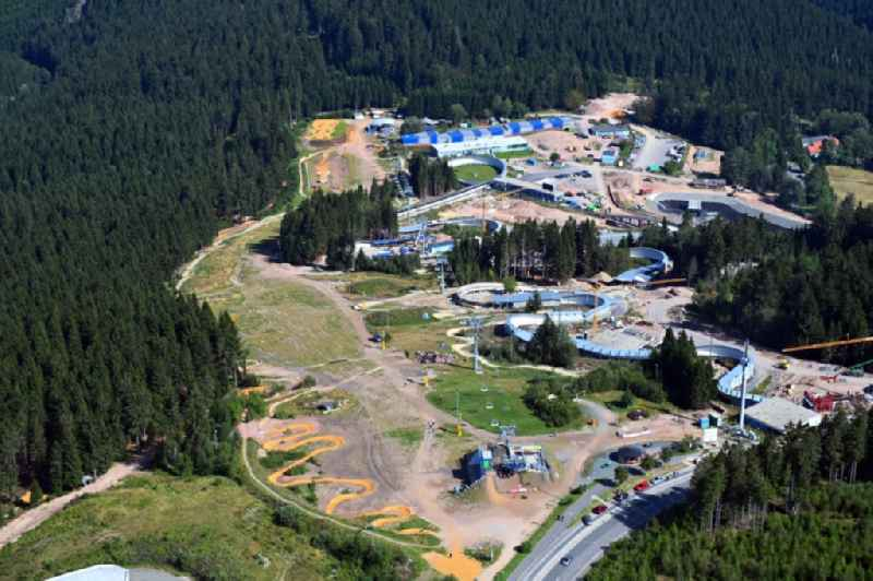 Route of the racing toboggan run at the bike park in Oberhof in the state Thuringia, Germany