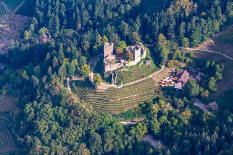 Ruins and vestiges of the former fortress Schauenburg in Oberkirch in the state Baden-Wurttemberg, Germany