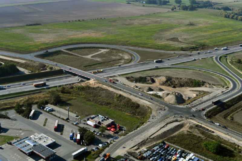 Construction site for the new construction of the road bridge construction at the motorway exit and access Oberkraemer in the state of Brandenburg, Germany