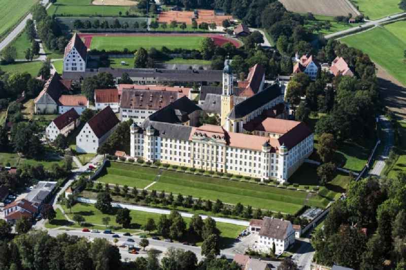 Complex of buildings of the monastery Ochsenhausen with of Basilika St.Georg in Ochsenhausen in the state Baden-Wuerttemberg, Germany