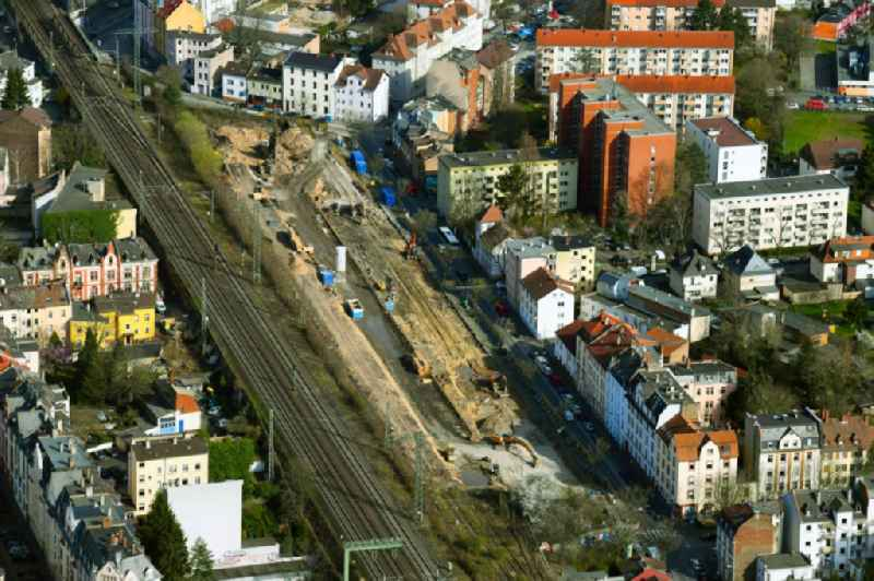 Construction site to build a new multi-family residential complex on Feldstrasse in the district Buergel in Offenbach am Main in the state Hesse, Germany