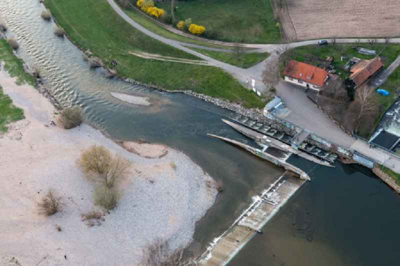 Weir on the banks of the flux flow Kinzig in the district Elgersweier in Offenburg in the state Baden-Wuerttemberg, Germany