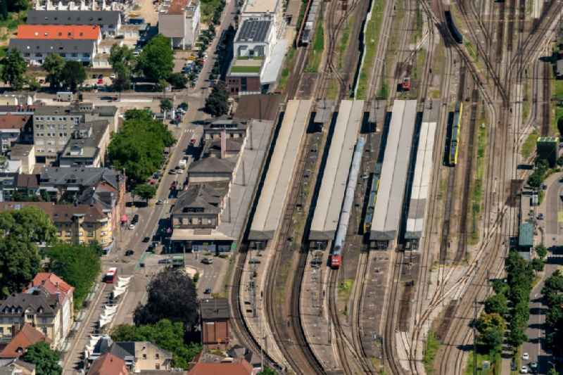 Track progress and building of the main station of the railway in Offenburg in the state Baden-Wurttemberg, Germany