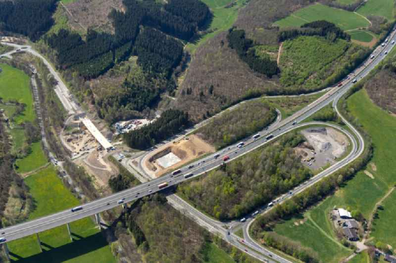 Construction site of routing and traffic lanes during the highway exit and access the motorway A 45 to the B54 in Olpe in the state North Rhine-Westphalia, Germany