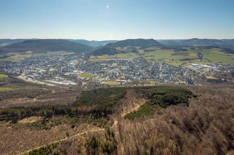 Town View of the streets and houses of the residential areas in Olsberg at Sauerland in the state North Rhine-Westphalia, Germany