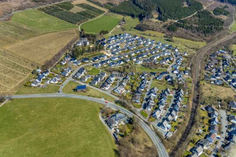 Residential area - mixed development of a multi-family housing estate and single-family housing estate on Rinketal in Olsberg at Sauerland in the state North Rhine-Westphalia, Germany