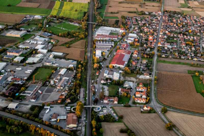 Industrial estate and company settlement with Bahnhol Orschweier in Mahlberg in the state Baden-Wurttemberg, Germany.
