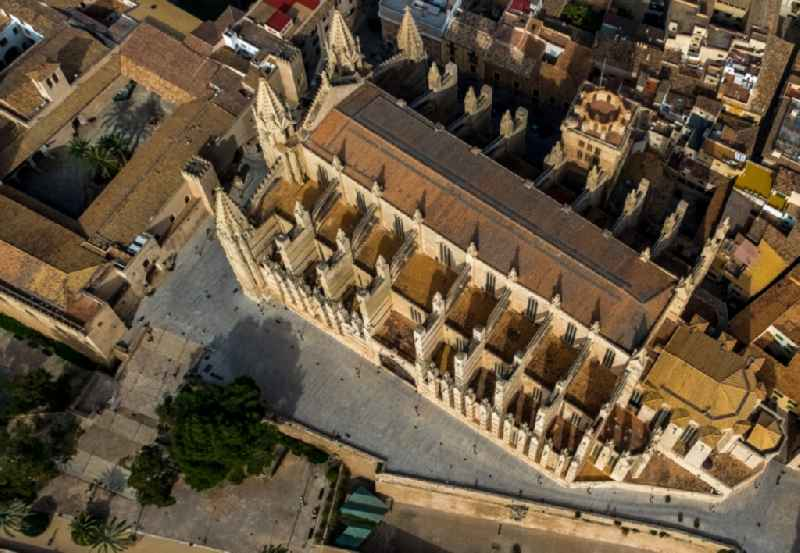 Church building of the cathedral of on Placa de la Seu in center of Palma in Balearic island of Mallorca, Spain