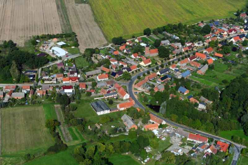 Village view on the edge of agricultural fields and land in Papenbruch in the state Brandenburg, Germany