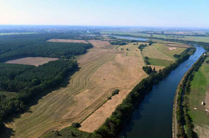 Riparian zones on the course of the river of Elbe-Havel-Kanal in Parchau in the state Saxony-Anhalt, Germany