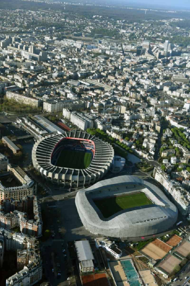 Sports facility grounds of the Arena stadium Stade Jean Bouin on Avenue du General Sarrail in Paris in Ile-de-France, France.