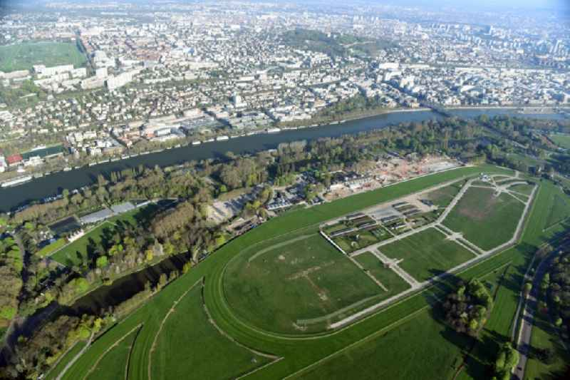 Racetrack racecourse - trotting Hippodrome de Longchamp an der Route des Tribunes in Paris in Ile-de-France, France