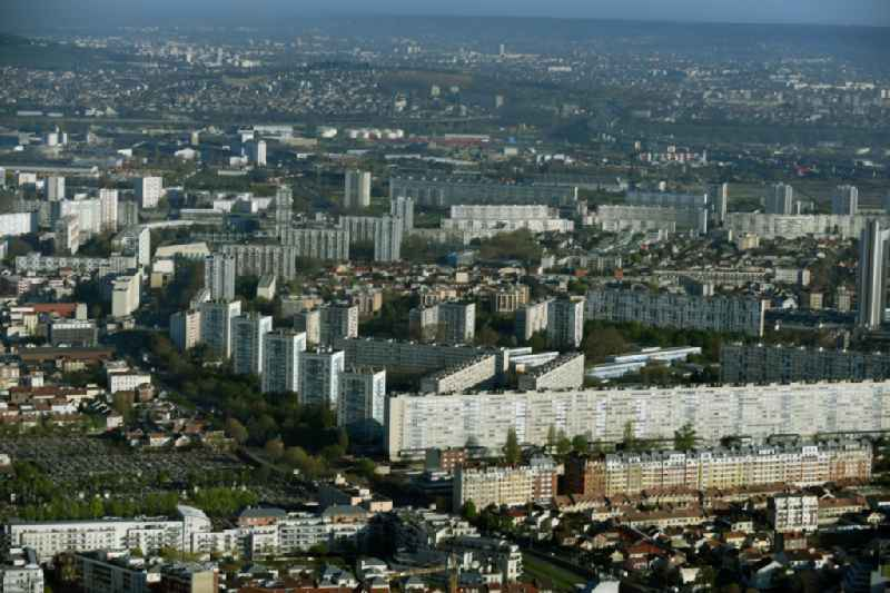 Skyscrapers in the residential area of industrially manufactured settlement on Rue du 8 Mai 1945 in Paris in Ile-de-France, France