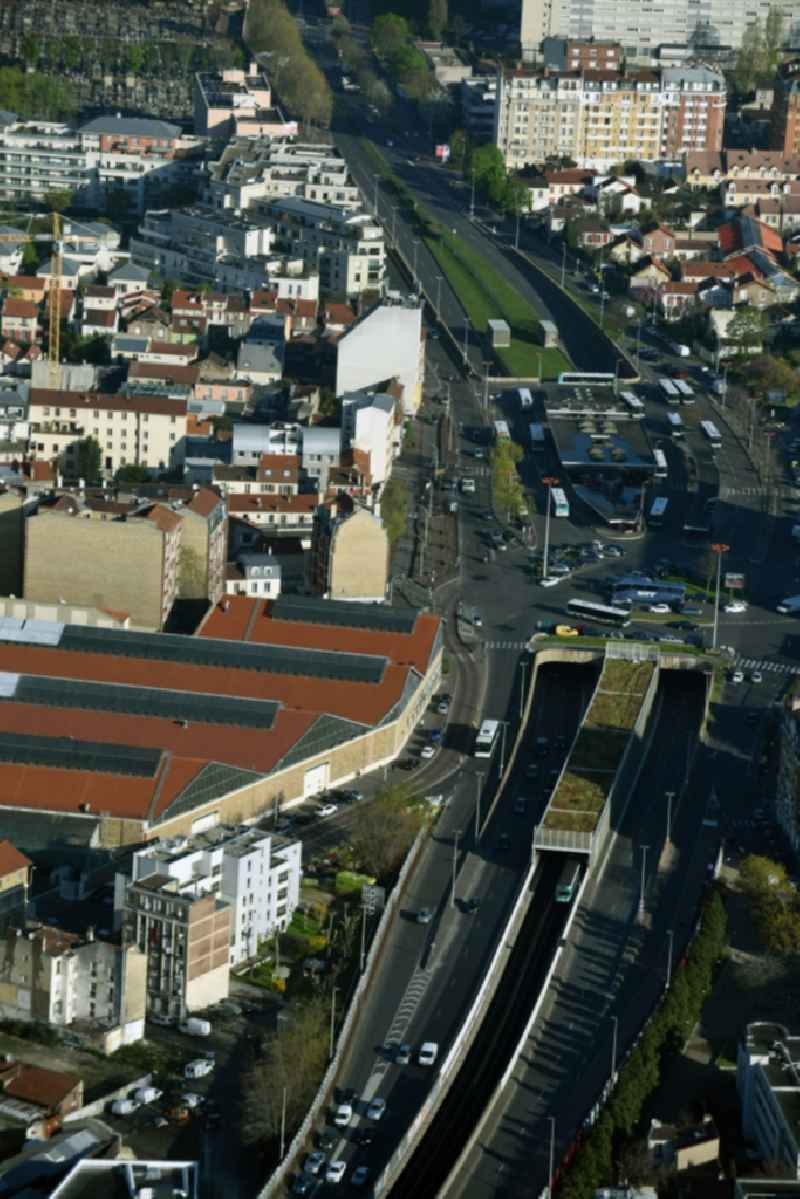Station building and track systems of Metro subway station Gabriel Peri Asnieres Gennevilliers in Paris in Ile-de-France, France
