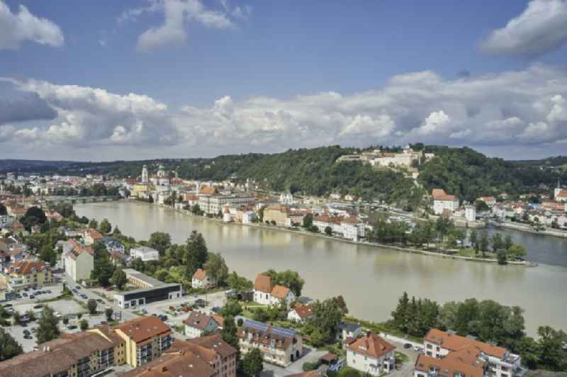 City view on the river bank in Passau in the state Bavaria, Germany