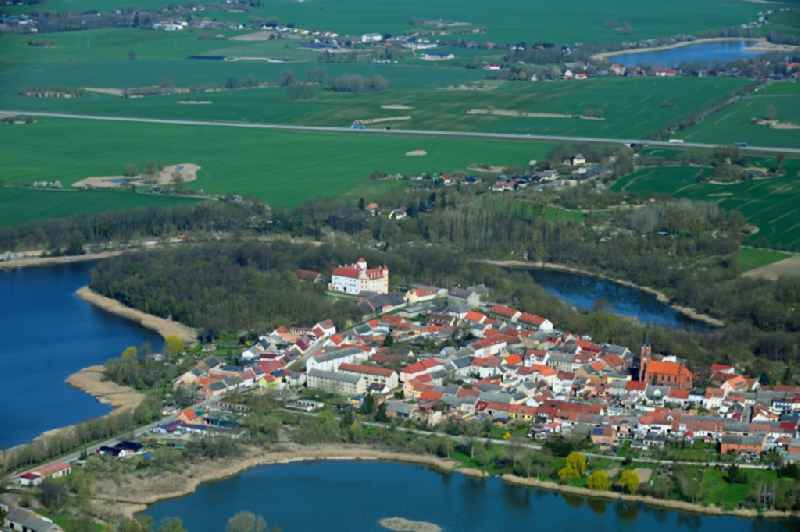 Village on the banks of the area lake of Schlosssee - Buergersee in Penkun in the state Mecklenburg - Western Pomerania, Germany