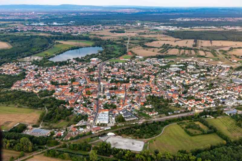 Town View of the streets and houses of the residential areas in Philippsburg in the state Baden-Wuerttemberg, Germany