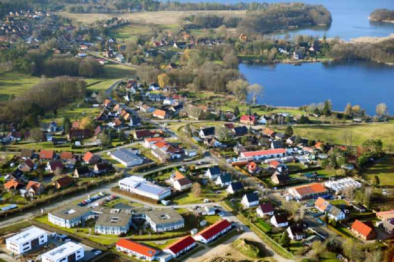 Village on the banks of the area on Binnensee in Pinnow in the state Mecklenburg - Western Pomerania, Germany