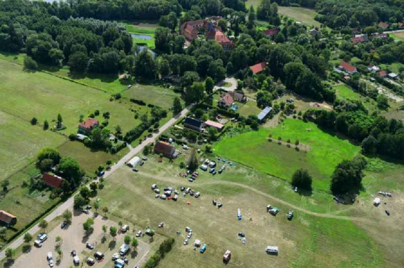 Camping with caravans and tents in the district Kletzke in Plattenburg in the state Brandenburg, Germany.