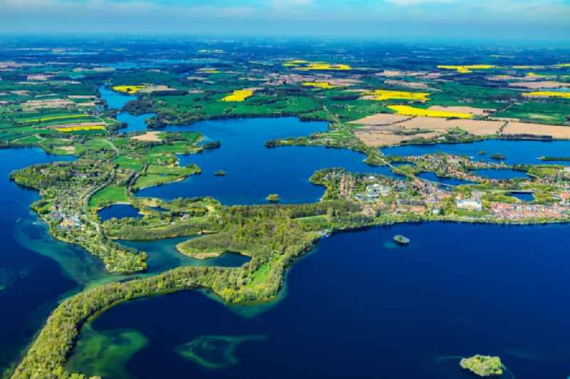Lakes chain and riparian areas of the Ploen lakes district Koppelsberg in Ploen in the state Schleswig-Holstein