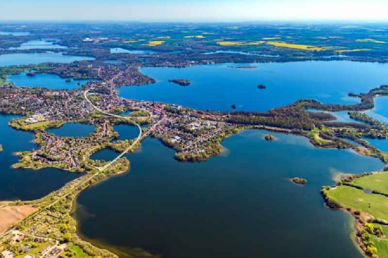 Lakes chain and bank areas of the Ploener lakes in Ploen in the federal state Schleswig-Holstein