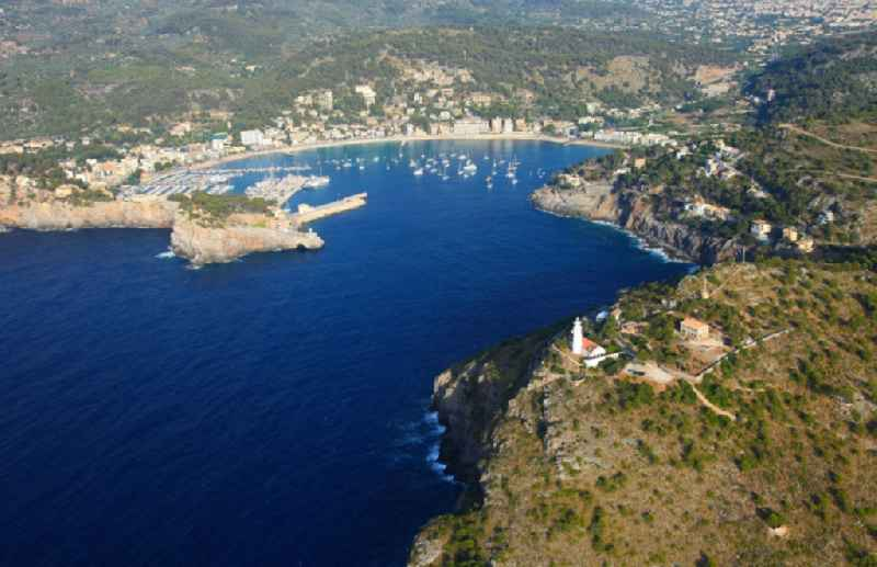 Pleasure boat marina with docks and moorings on the shore area Balearic Sea in Port de Soller in Balearic Islands, Spain