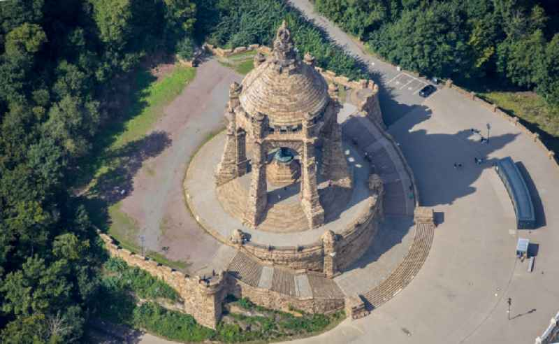 Tourist attraction of the historic monument ' Kaiser-Wilhelm-Denkmal ' in Porta Westfalica in the state North Rhine-Westphalia, Germany