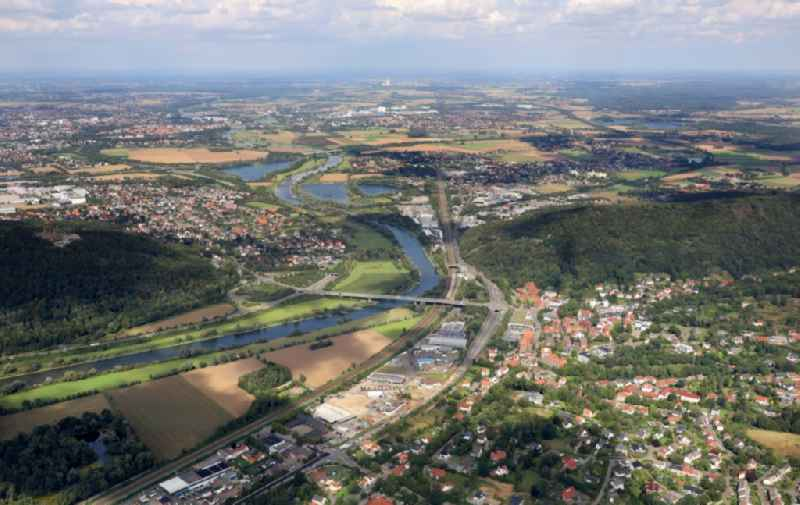 City center in the downtown area on the banks of river course of the Weser river in the district Holzhausen in Porta Westfalica in the state North Rhine-Westphalia, Germany