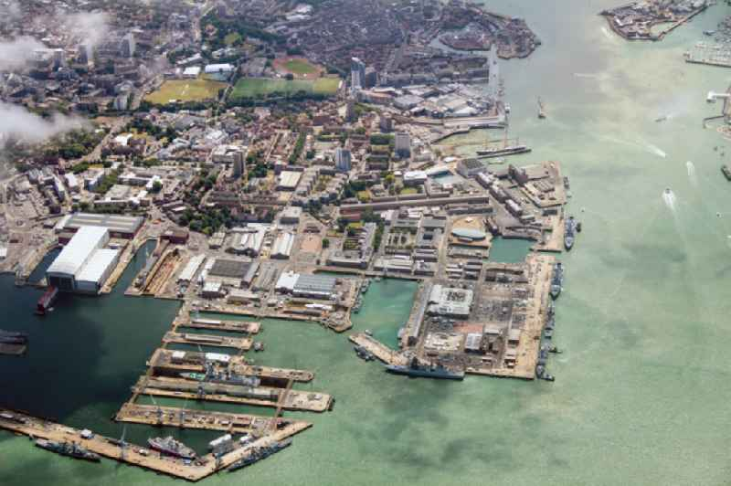 The inner harbours of the naval base of the Britisch Royal Navy (HMNB Portsmouth) on the peninsula Portsea Island in the city Portsmouth, county Hampshire in England, United Kingdom.