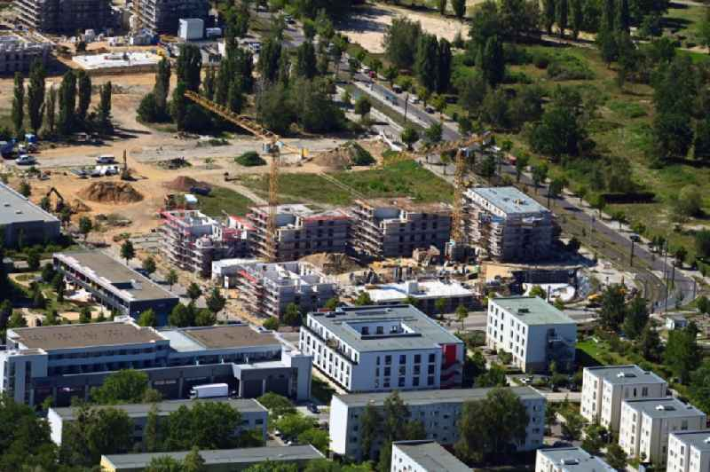 Construction site to build a new multi-family residential complex on Georg-Hermann-Allee in the district Bornstedt in Potsdam in the state Brandenburg, Germany