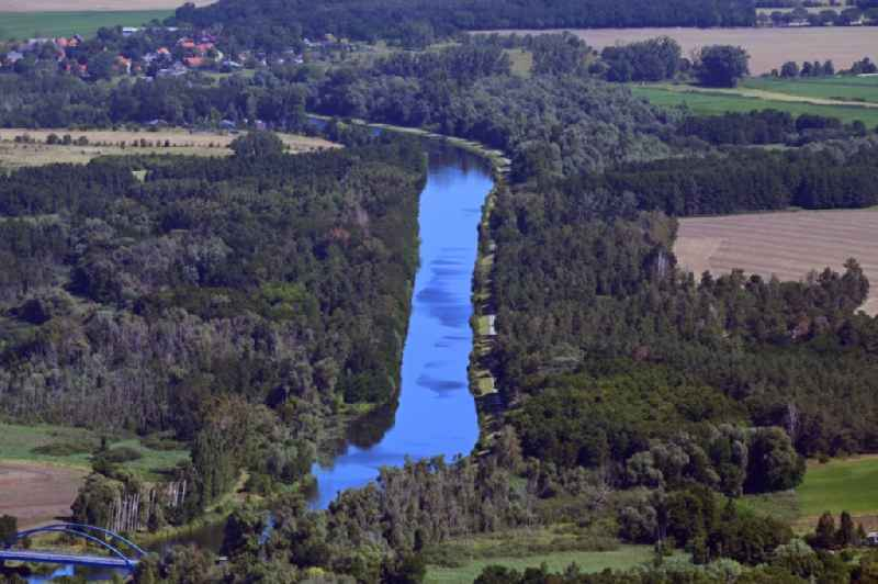 Curved loop of the riparian zones on the course of the river canal Havelkanal in the Falkenrehder Wublitz in Potsdam in the state Brandenburg, Germany