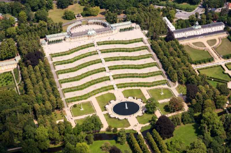 Palace Sanssouci in Potsdam in the state Brandenburg, Germany