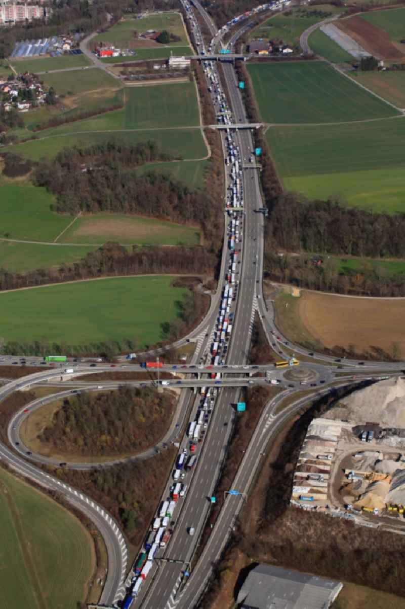 Highway congestion along the route of the lanes of motorway A3 in Pratteln in the canton Basel-Landschaft, Switzerland