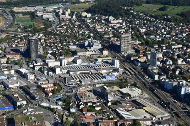 The city center in the downtown area in Pratteln in the canton Basel-Landschaft, Switzerland.