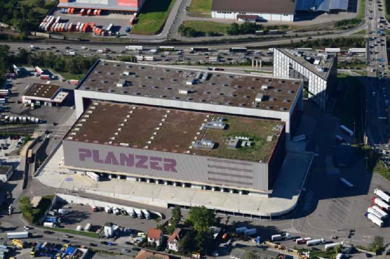 Building complex and grounds of the logistics center Planzer Transport AG in Pratteln in the canton Basel-Landschaft, Switzerland.