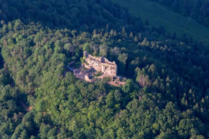 Ruins and vestiges of the former castle and fortress  Burg Meistersel in Ramberg in the state Rhineland-Palatinate, Germany