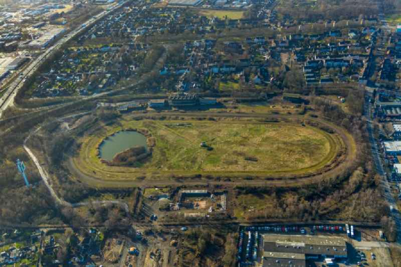 Development, demolition and renovation work on the site of the former racing track - harness racing track as part of the integrated district development concept (ISEK) Hillerheide in Recklinghausen in the state of North Rhine-Westphalia, Germany