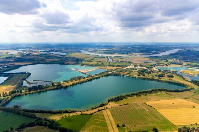 Shore areas of the ponds for fish farming ' Reeser Meer ' in Rees in the state North Rhine-Westphalia, Germany.
