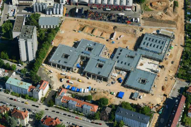 New construction site of the school building of Kreuzschule on Pruefeninger Strasse in Regensburg in the state Bavaria, Germany